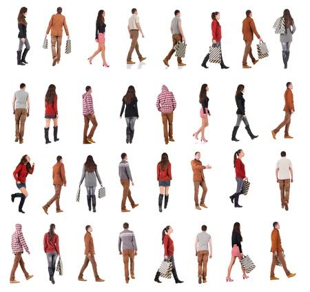 Foto de collection back view of walking people going people in motion set - Imagen libre de derechos