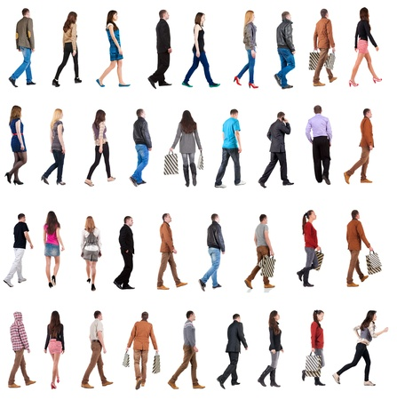 Foto de collection  back view of walking people . going men and woman  in motion set.  backside view of person.  Rear view people collection. Isolated over white background. - Imagen libre de derechos