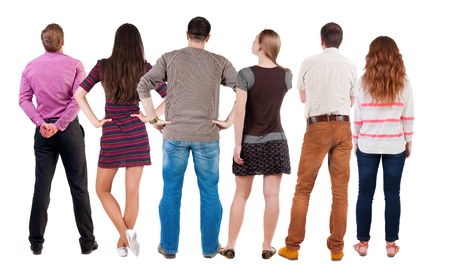 Photo pour Back view group of people  looking. Rear view team people collection.  backside view of person.  Isolated over white background. - image libre de droit