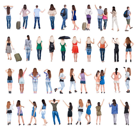 Collection  Back view people .  Rear view people set.  backside view of person.  Isolated over white background.
