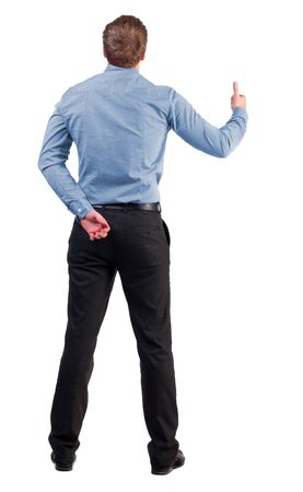 Back view of  business man shows thumbs up.   Rear view people collection. cheerful office worker shows positive emotions.  backside view of person.  Isolated over white background. with one hand behind his back, an office worker second shows gesture succ