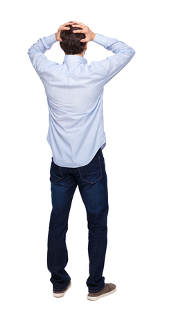 Photo pour Back view of shocked business man. Upset adult businessman. Rear view people collection.  backside view of person.  Isolated over white background. The guy in the shirt is terrified. - image libre de droit