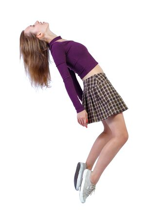 Photo pour Side view of woman in zero gravity or a fall. girl is flying, falling or floating in the air. Side view people collection. side view of person. Isolated over white background. - image libre de droit