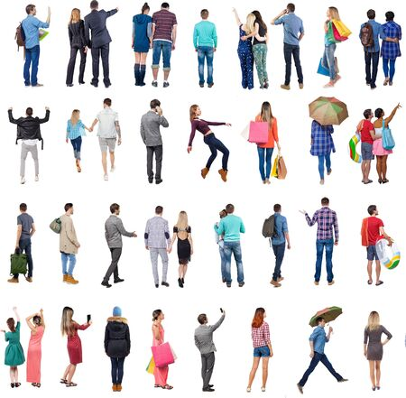 Photo pour Collection  Back view people .  Rear view people set.  backside view of person.  Isolated over white background . - image libre de droit
