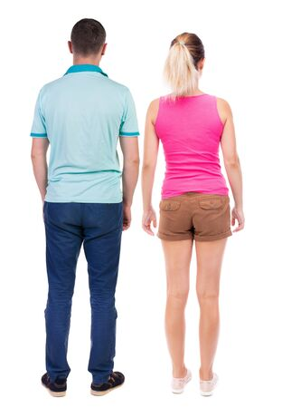Photo pour Back view of couple. beautiful friendly girl and guy together. Rear view people collection. backside view of person. Isolated over white background. - image libre de droit