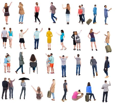 Photo pour Collection Back view people. Rear view people set. backside view of person. Isolated over white background. many people standing with their backs. - image libre de droit