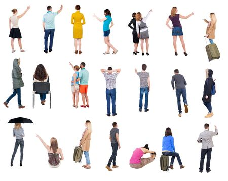 Photo for Collection Back view people. Rear view people set. backside view of person. Isolated over white background. many people standing with their backs. - Royalty Free Image