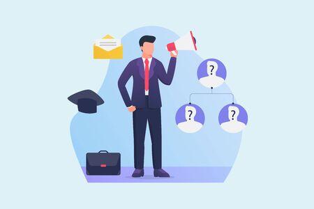 Illustration pour search job position candidate with empty job position with employeer holding megaphone loud speaker vector - image libre de droit