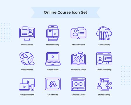 Illustration for Online Course icon set collection mobile reading interactive book cloud library global access online mentoring with outline style flat vector design illustration. - Royalty Free Image