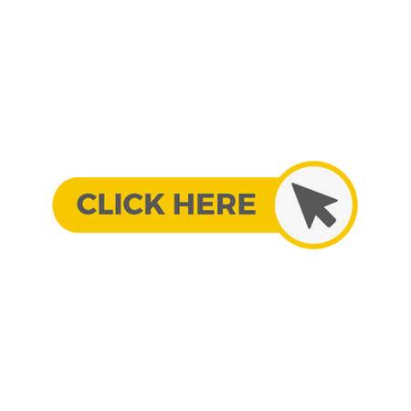 Illustration pour Click here button with arrow pointer icon - image libre de droit