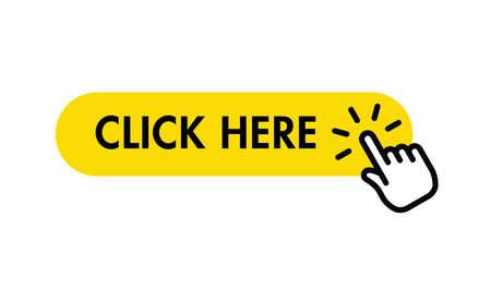 Illustration pour Click here button with hand pointer clicking - image libre de droit