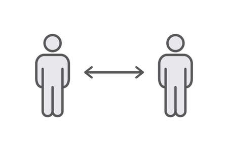 Ilustración de Keep distance sign. Coronavirus pandemic social distance. Preventive measures. Keep distance. Vector illustration. - Imagen libre de derechos