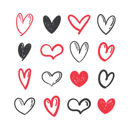 Ilustración de Hand drawn hearts. Set of Heart doodles for valentine's day design or wedding card invitation. - Imagen libre de derechos