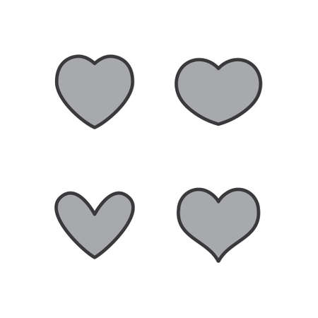 Ilustración de Heart icons collection. Vector designs in shape of hearts. Love, care and valentine's day symbol. - Imagen libre de derechos