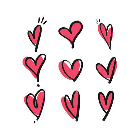 Ilustración de Heart doodles. Hand drawn hearts collection. Love illustration designs. - Imagen libre de derechos