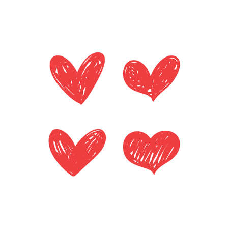 Ilustración de Heart doodles collection. Set of hand drawn hearts. Love symbol illustrations. - Imagen libre de derechos