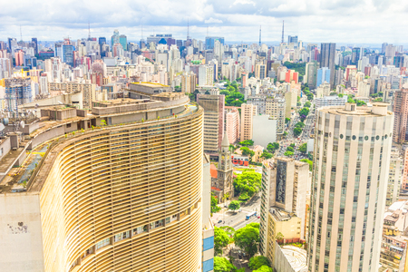 View of Sao Paulo and the famous Copan building  Designed by Oscar Niemeyer, it has the largest residential floor area in the world