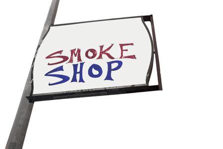 Isolated SMOKE SHOP sign.