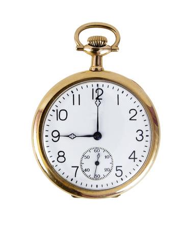 Photo pour Nine o'clock gold pocket watch. Isolated. - image libre de droit