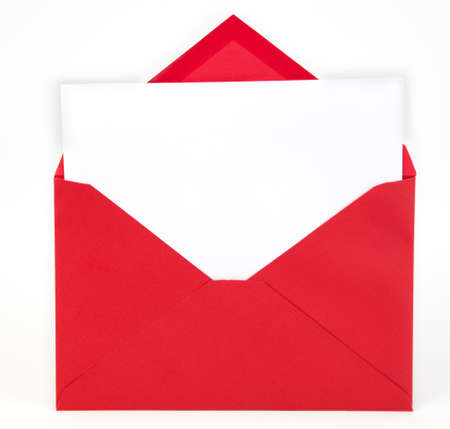 Photo pour Red envelope with open flap and white note card inserted. Copy space. - image libre de droit