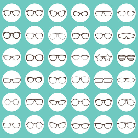 brown color icons of glasses in white color circle
