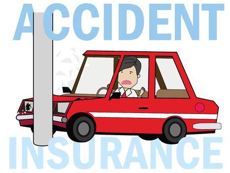 Illustration pour Man driving a car crashed on a pole. Flat illustration vector concept. - image libre de droit
