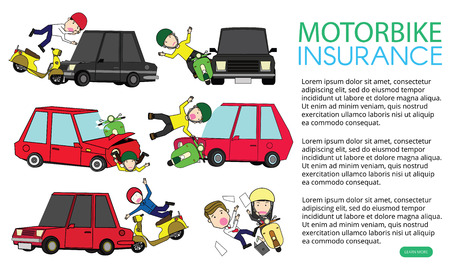 Illustration for motorcycle accident with private car. Flat vector illustration design. - Royalty Free Image