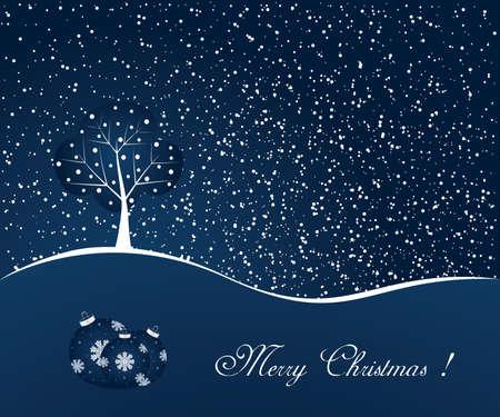 Blue winter scene - christmas background