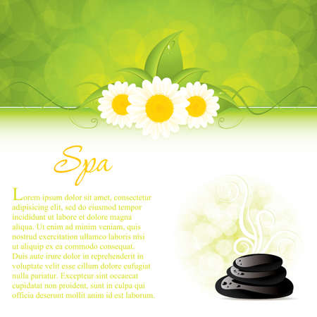 Illustration for Background with spa stones and white flowers - Royalty Free Image
