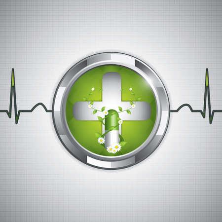 Green alternative medication concept - Natural herbal pill