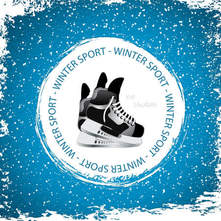 Winter sport background Ice skates