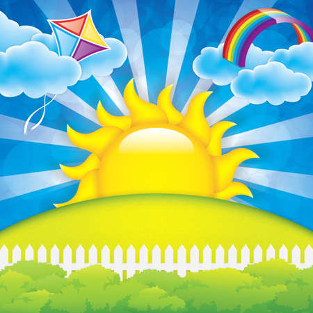 Illustration pour Spring background  with kite and rainbow - image libre de droit