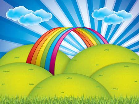 Illustration pour Spring background with rainbow and clouds - image libre de droit
