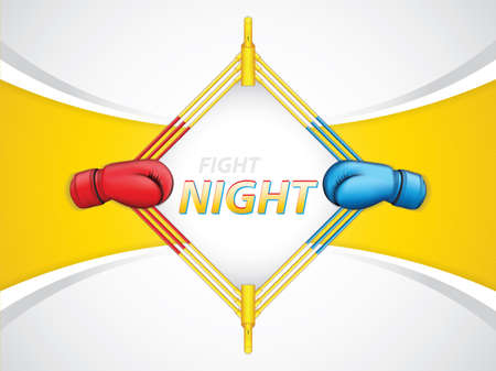 Illustration for Vector illustration of fight night concept background with red vs blue side - Royalty Free Image