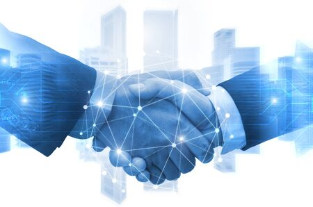 Photo for Partnership - business man shaking hands with effect digital network link connection graphic diagram, digital global technology with cityscape background, internet communication and teamwork concept - Royalty Free Image
