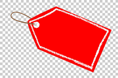 Photo for Red Blank Tag, White Crayon List, at Transparent Effect Background - Royalty Free Image