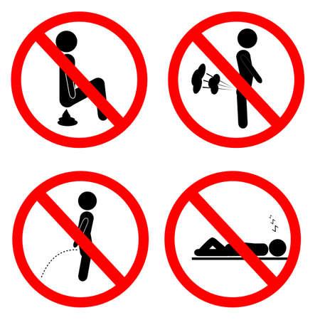 Photo pour vector simple prohibition sign, do not poop fart pee and sleep - image libre de droit