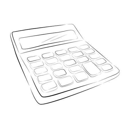 Foto de hand draw sketch of calculator isolated on white - Imagen libre de derechos