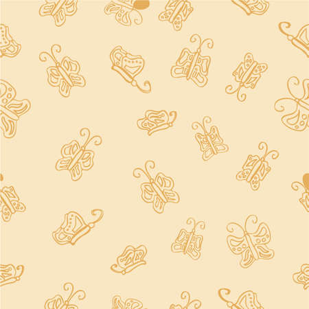 Photo pour Hand Draw Sketch Seamless butterfly Pattern for Background, Paper Wrap, Banner, curtain, etc - image libre de droit