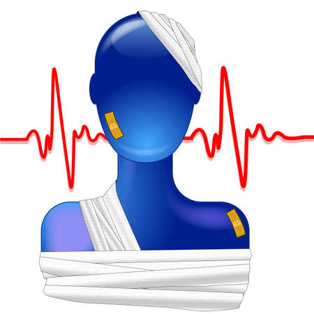 Blue person injured with heartbeat
