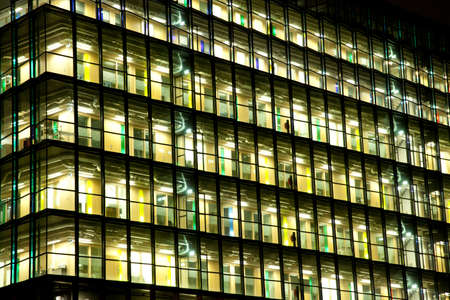 View at office with windows at night