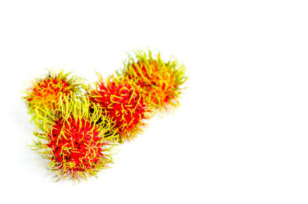 Fresh rambutan sweet fruit of Thailand on white background