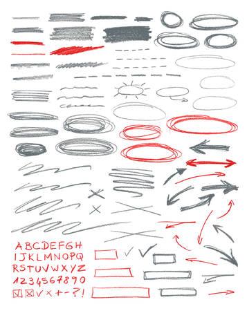 Set of hand drawn correction elements. Pencil technique.