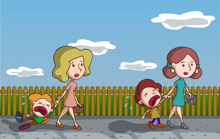 Kids crying going to school. Vector illustration. Cartoon.