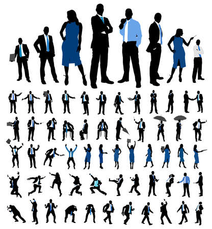 Set of business people silhouettes. Female and male different poses isolated on white. Vector illustration.
