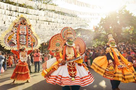 Kochi, India - January 1, 2016: Traditional Kathakali dance on New Year carnival in Fort Kochi Cochin, Kerala, India.