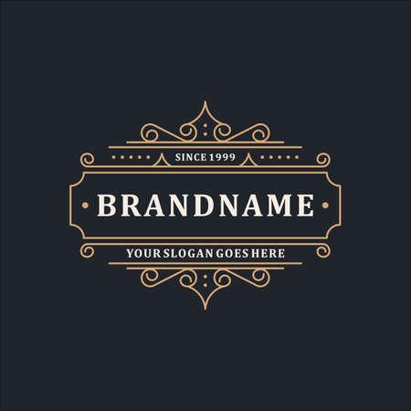 Ilustración de Luxury Logo Template Elegant Ornament Line for Restaurant, Royalty, Boutique, Cafe, Hotel, Heraldic, Jewelry, Fashion and other vector illustration - Imagen libre de derechos