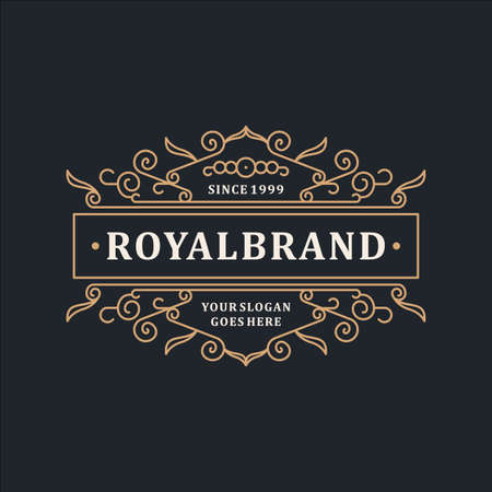 Photo pour Luxury Logo Template Elegant Ornament for Restaurant, Royalty, Boutique, Cafe, Hotel, Heraldic, Jewelry, Fashion and other vector illustration - image libre de droit