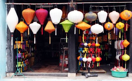 Traditional silk lanterns from Vietnam - travel and tourism.