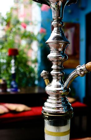 Close-up of a traditional hookah pipe.